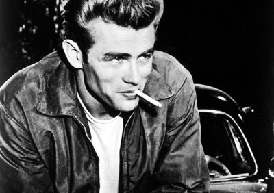 REBEL WITHOUT A CAUSE, James Dean on set, 1955